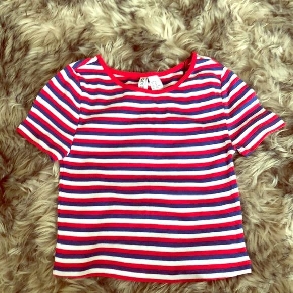 H&M Tops - Striped crop top